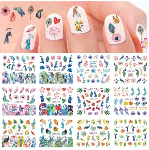 12pc Flamingo Water Decal Nail Art Stickers Set Floral Flower Nature Leaves