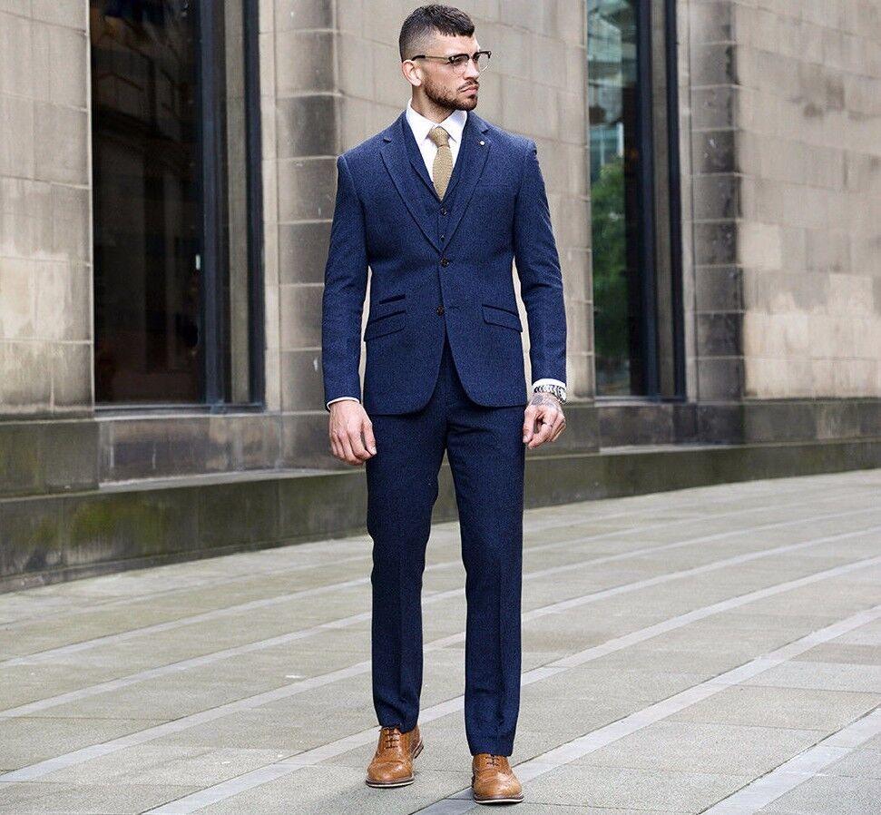 Cavani  Herren 3 Piece Herringbone Suit Blazer Waistcoat Trousers Sold-Separately