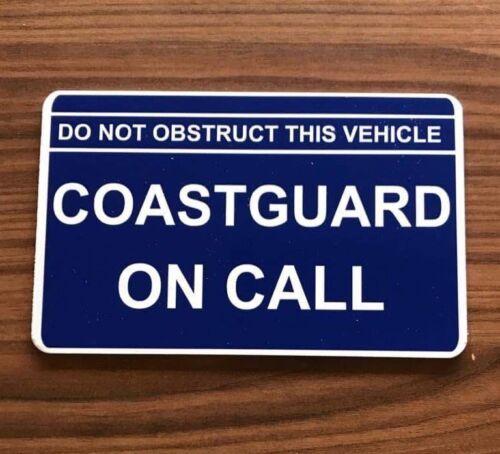 COASTGUARD On Call Dash car windscreen Search Rescue