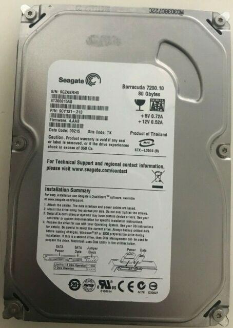"Seagate 80GB Internal Hard Drive SATA 3.5"" For PC Desktop CCTV"