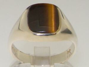 925-Solid-Sterling-Silver-Natural-Tigers-Eye-Mens-Gents-Signet-Ring