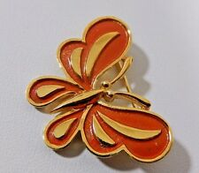 VTG. SIGNED CROWN TRIFARI 18KGP TOMATO RED ENAMEL BUTTERFLY FIGURAL BROOCH PIN