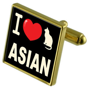I Love My Katze Goldton Manschettenknöpfe Asiatisch