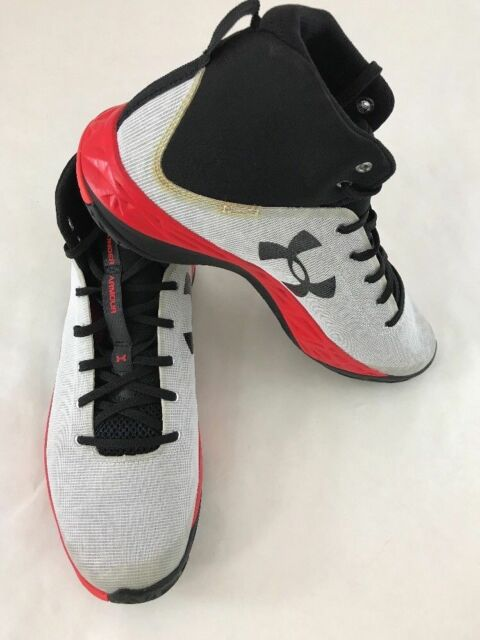 3f557a4d3fa7 Under Armour Men s UA Fireshot Basketball Shoes White Black Rocket Red  --Size