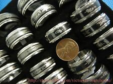 US SELLER- 20 rings stainless steel men ring wholesale jewelry lot many designs