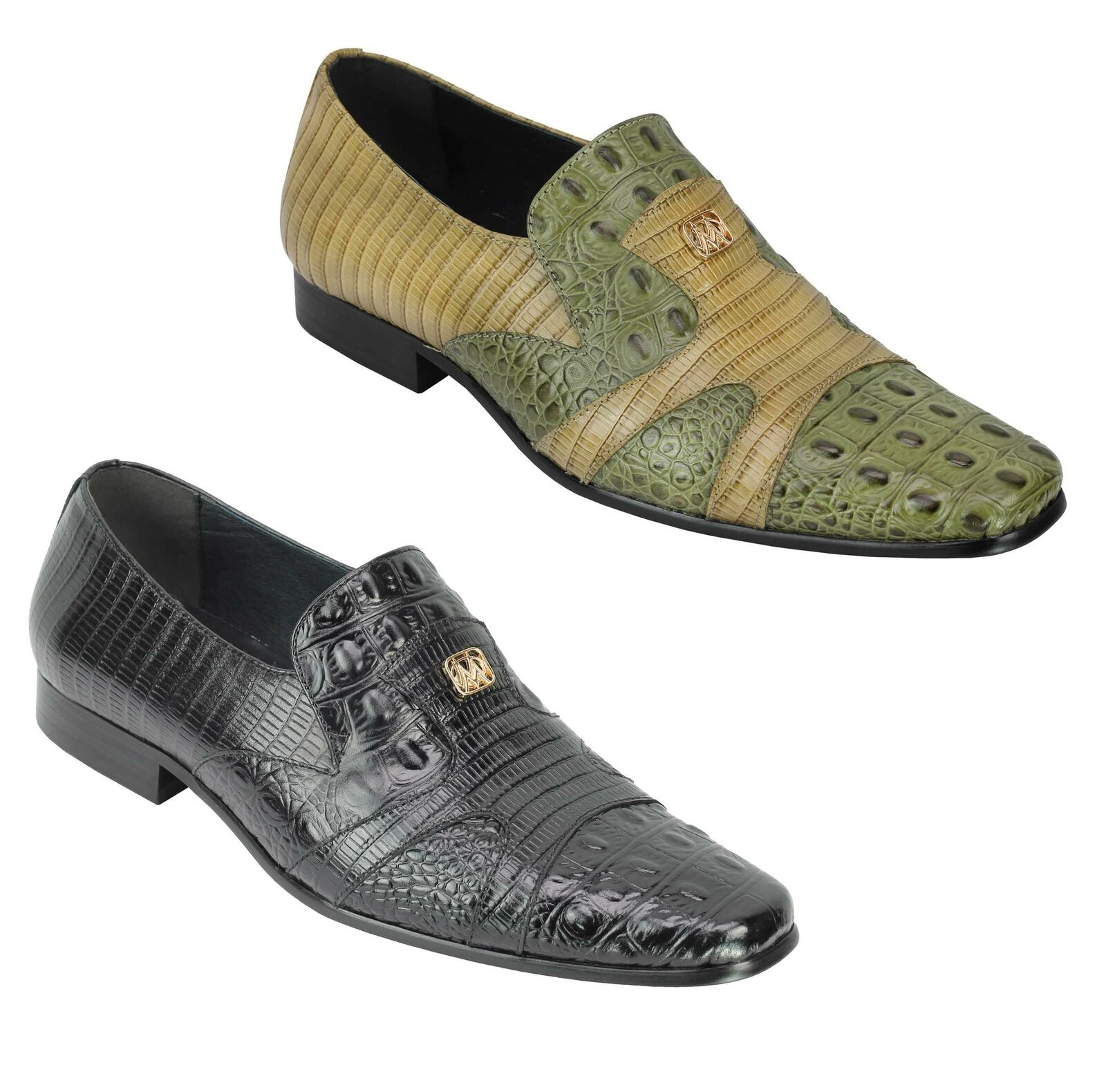 Mens Retro Designer Style Crocodile Print Real Leather Loafers Dress Party schuhe