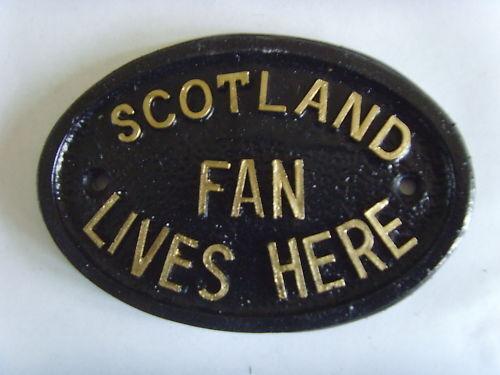 Scotland ventilateur football plaque signe tartan army