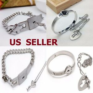 0d905d7770 Couple Titanium Steel Lock Bangle Bracelet & Key Pendant Necklace ...