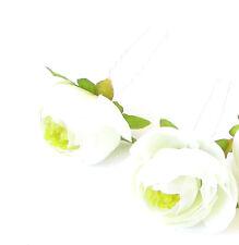 2x Ivory White Cream Ranunculus Flower Hair Pins Bridal Bridesmaid Clip Rose 506