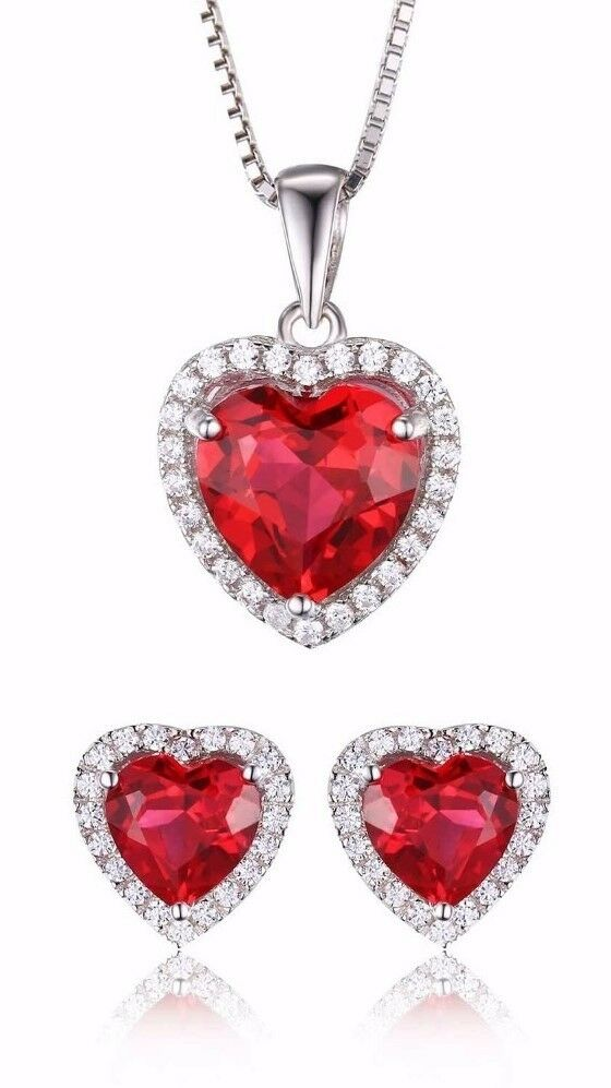 Conjunto 3P Rubí creado corazón Zircón 3.76ct. Pura plata S925.Joyeria fina Amor