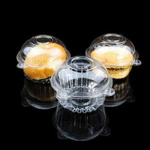 50/100Pc Plastic Clear Single Cupcake Cake Case Muffin Pod Dome Cup Holder Box