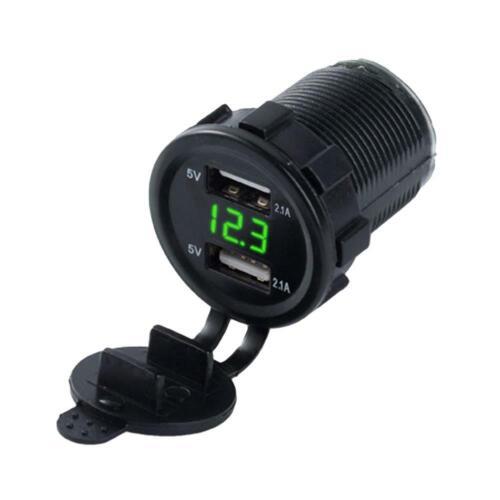 Dual 2 USB Port Car Boat Charger Socket Voltage Digital Panel Volt Meter 12V-24V