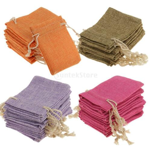10pcs Small Jewellery Pouches Linen Drawstring Organza Jewelry Bags Sacks 8x10cm