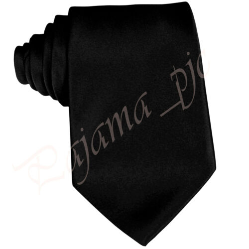 CLEARANCE SALE NEW CLASSIC SATIN SOLID BLACK SELF NECKTIE FORMAL WEDDING PROM