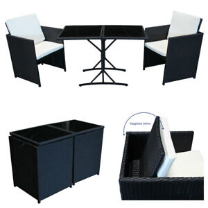 poly rattan sitzgruppe schwarz essgruppe balkon garnitur gartenm bel lounge cube ebay. Black Bedroom Furniture Sets. Home Design Ideas
