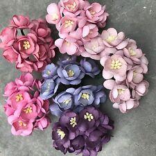 New! 50 Pink, Purple Cherry Blossom Handmade Mulberry Paper Flowers, Wedding