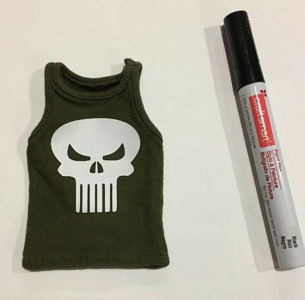 1 6 Scale Punisher Skull GLOW IN THE DARK Green Tank Top Comic Style