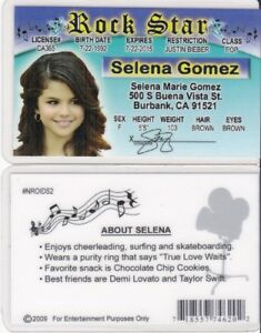 rock star selena gomez burbank california ca drivers license fake id