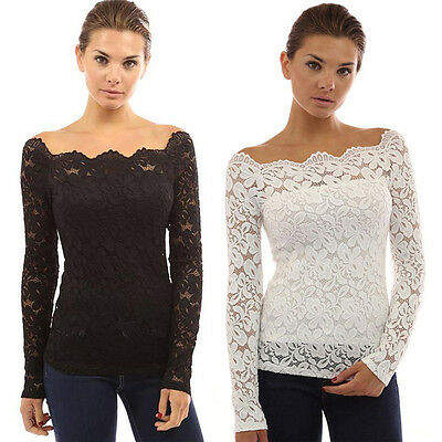 Sexy New Women Off Shoulder Lace Crochet Shirt Sexy Slim Casual Blouse Tops