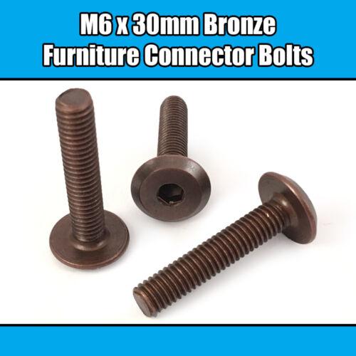 M6 x 30 mm Bronze Meubles Connecteur Boulons Joint fixation lit bébé meuble table bureau