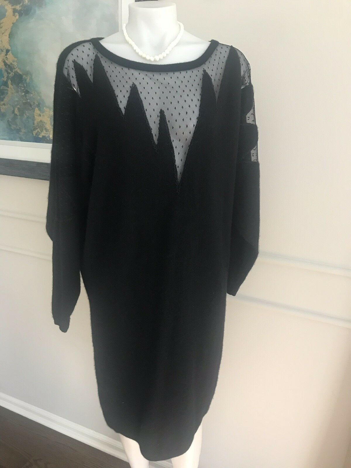 Adrianne Vittadini Woman's Dress Wool Angora schwarz Sexy Long Sleeve Größe Large