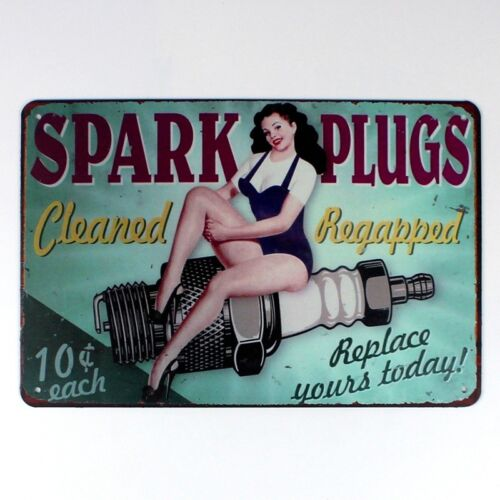 Metal Tin Sign spark plugs cleaned and regapped Decor Bar Pub Home Vintage Retro