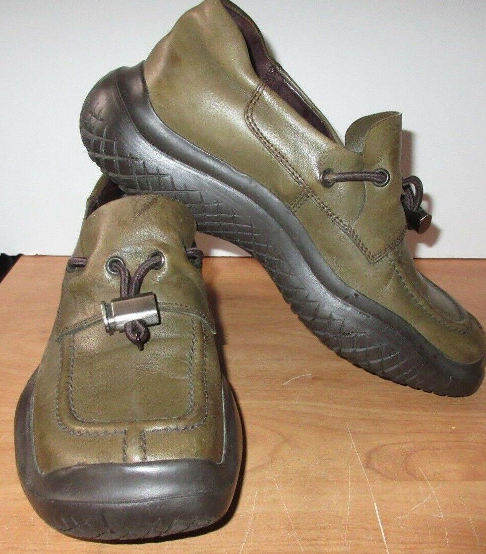 Prada Vibram Loafers Olive Leather Women Eur 37 US 6.5
