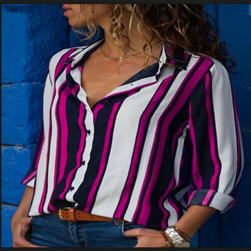 Plus Women Long Sleeve Striped Button T-Shirt Casual Loose Formal OL Tops Blouse