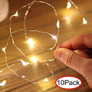 10Pack-10er-LEDs-Lichterkette-Draht-Micro-warmweiss-Batteriebetrieb-Dekor-Xmas-De