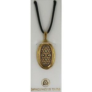 Damascene-Gold-Star-of-David-Design-Oval-Pendant-Necklace-by-Midas-of-Toledo
