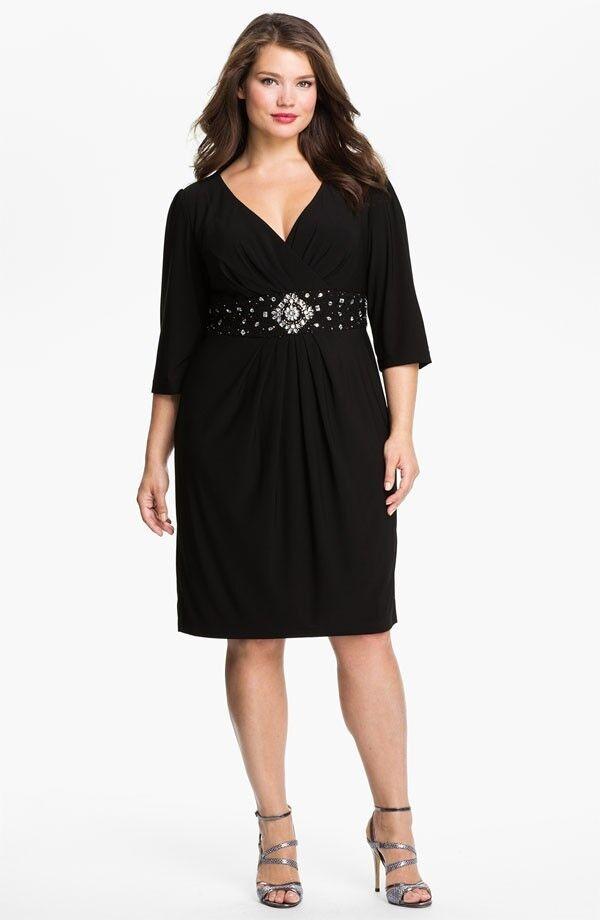 Alex Evenings Beaded Surplice Surplice Surplice Dress (Plus Size) (Size 14W) ac4463