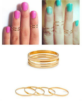 retro 5PC Rings Urban Gold stack Plain Cute Above Knuckle Band Midi Ring #4 HS55