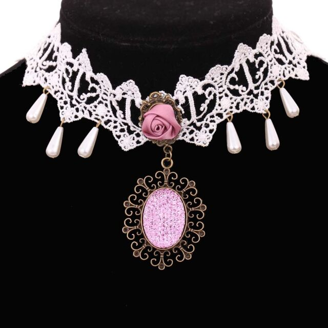 Lolita Gothic Collar Choker White Lace Pink Rose Pattern Pandent Necklace Gift