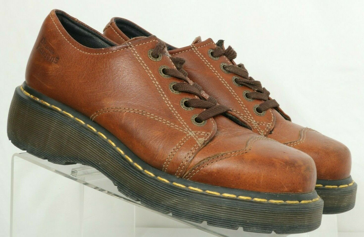 Dr. Martens 8651 Brown Leather Cap Toe Chunky Casual Oxfords Women's US 9