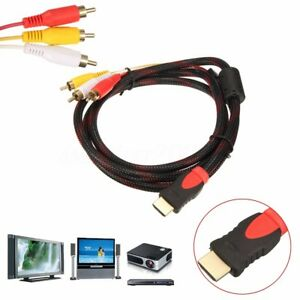 HDMI to 3 Red Yellow White RCA Cable Cord for Connect Computer PC ...