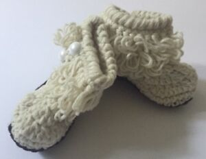 dc7fabb03 New! Infant Booties Baby Shoes Slippers Knit Custom Made Cream