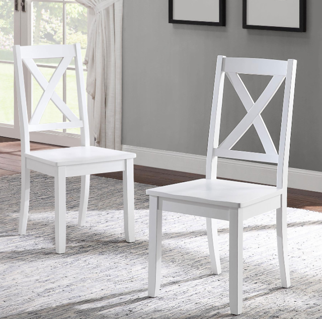 Set Of 2 Farmhouse Kitchen Dining Chairs Cottage Living Room White Wood X Back