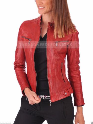 cuir moto en pour femme véritable en souple slim motard peau d'agneau Veste Sv5qOwxx