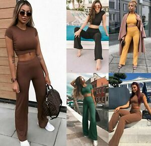 Womens-Ladies-Ribbed-Crop-Top-Bottom-Loungewear-Suit-2PCS-Co-ord-Tracksuit-Set