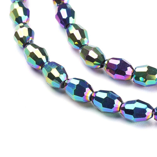 10 Strds Electroplate Glass Beads Faceted Oval Dark Orchid Loose Bead Tiny 6x4mm