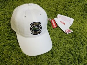 Image is loading Supreme-S-S-2018-Lacoste-Twill-6-Panel-Hat- 2328ce37067