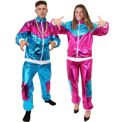 Mens 1980s Shell Suit Fancy Dress Costume Track Suit Scouser Adults OUtfit