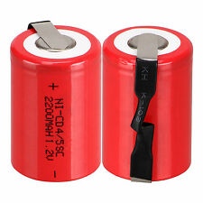 Red Color 2pcs NiCd 4/5 SubC Sub C 1.2V 2200mAh Ni-Cd Rechargeable Battery &Tab