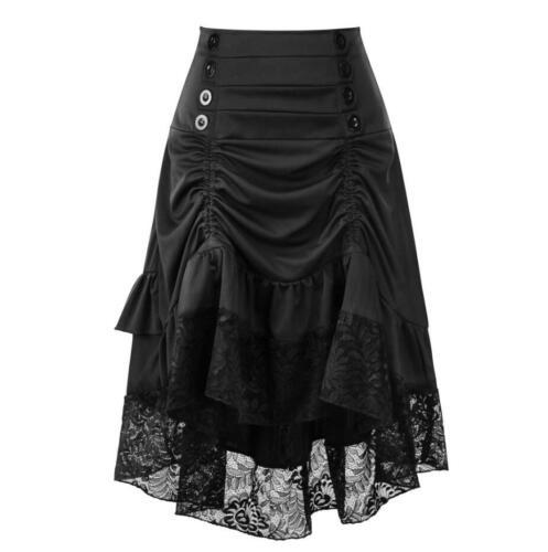 Womens High Waist Retro Gothic Victorian Lace Long Skirt Ladies Steampunk Dress