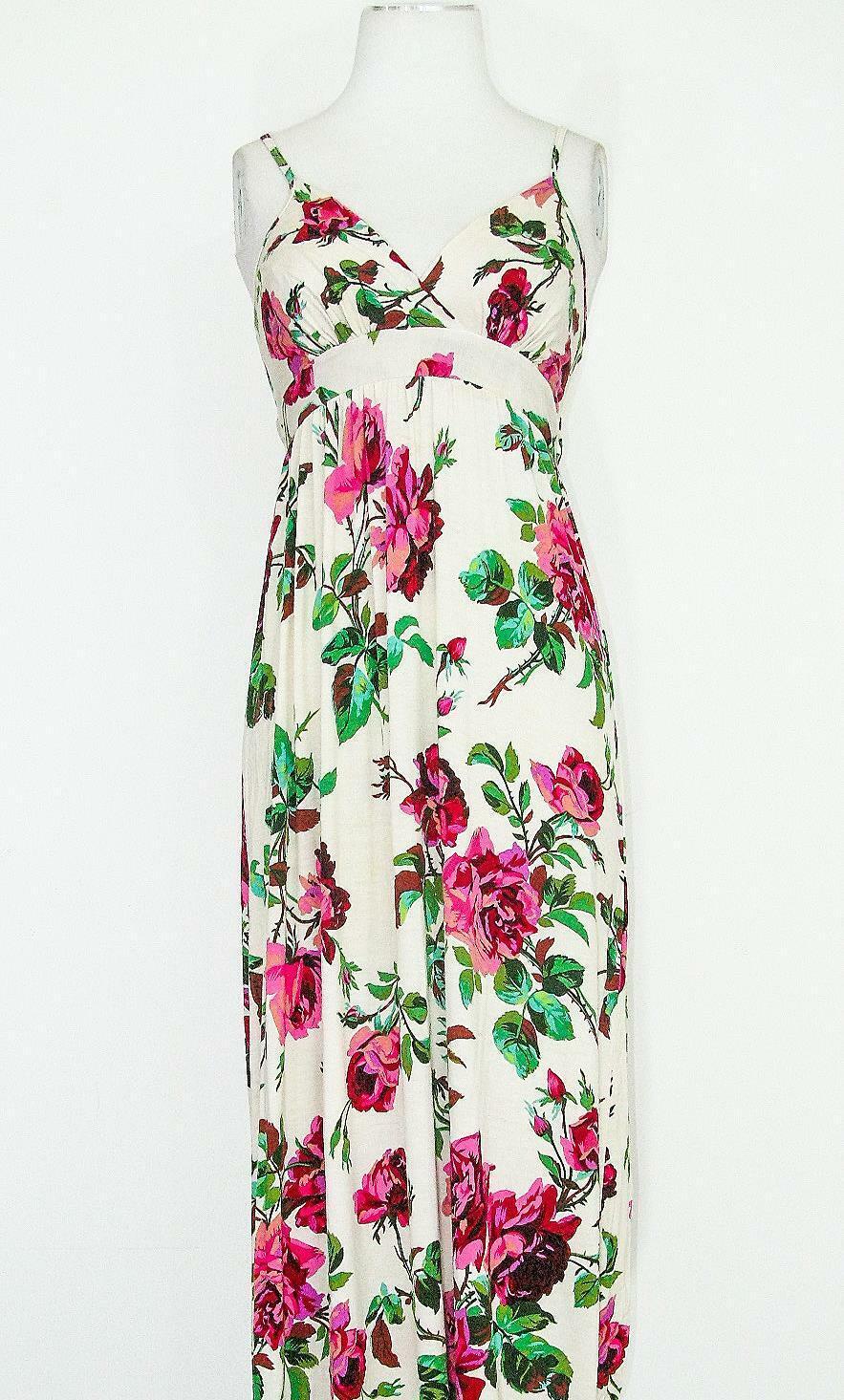 Señoras Lipsy Crema Rosas Rosa Verde Verano Verano Verano Floral Vestido Maxi ocasión Talla 10 0664ac