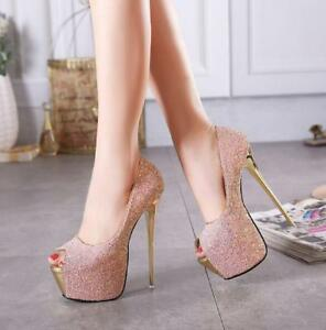16CM-Womens-Peep-Toe-Stiletto-High-Heels-Pumps-Sandals-Wedding-Party-Shoes-Zsell