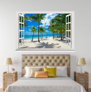3D Beach Palm 49 Open Windows WallPaper Murals Wall Print Decal Deco AJ Summer