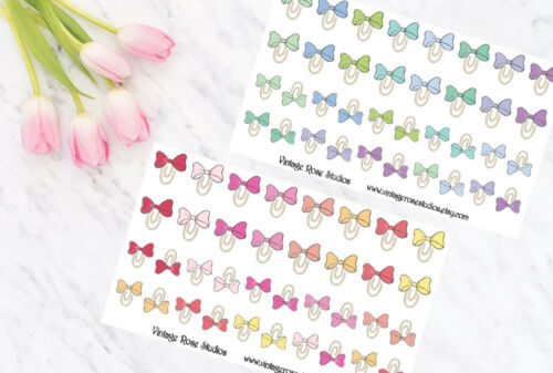 in Cool /& Warm Colours  Erin Condren Bow Clips Functional Planner Stickers