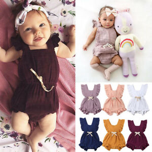 Newborn-Infant-Baby-Girls-Color-Solid-Ruffles-Backcross-Romper-Bodysuit-Outfits