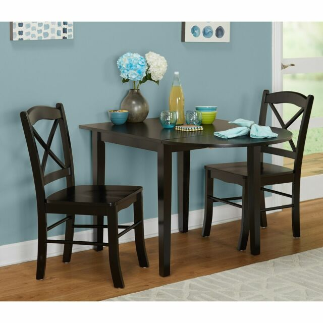 Small Black 3 piece Country Cottage Dining Set Dinette Drop Leaf Table  Chairs